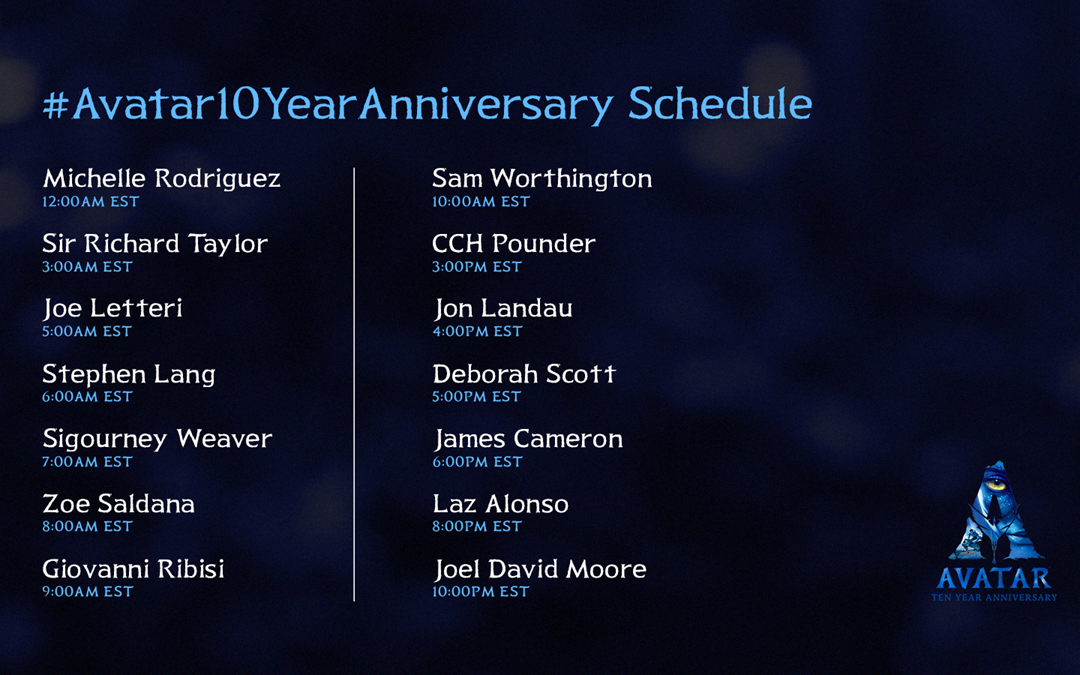 Avatar 10th Anniversary Schedule